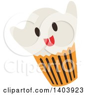 Clipart Of A Ghost Halloween Cupcake Royalty Free Vector Illustration