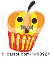 Clipart Of A Halloween Jackolantern Pumpkin Cupcake Royalty Free Vector Illustration by Cherie Reve
