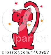 Red Halloween Cat With Stars