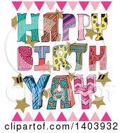 Clipart Of A Colorful Patterned Happy Birthday Design Royalty Free Vector Illustration by Cherie Reve
