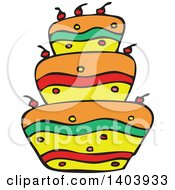 Clipart Of A Colorful Birthday Cake Royalty Free Vector Illustration by Cherie Reve