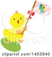 Clipart Of A Yellow Easter Chick Carrying A Pink Flag Royalty Free Vector Illustration by Cherie Reve