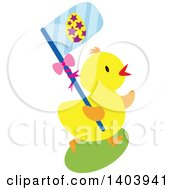 Clipart Of A Yellow Easter Chick Carrying A Blue Flag Royalty Free Vector Illustration by Cherie Reve