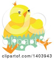 Clipart Of A Yellow Easter Chick Hatching From A Polka Dot Egg Royalty Free Vector Illustration