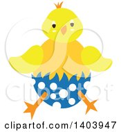 Poster, Art Print Of Yellow Easter Chick Hatching From A Polka Dot Egg