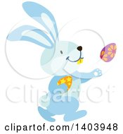 Blue Bunny Rabbit Running With Easter Eggs