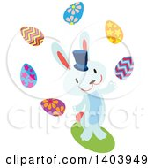 Blue Bunny Rabbit Juggling Easter Eggs
