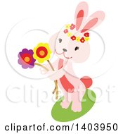Clipart Of A Pink Easter Bunny Rabbit Holding Flowers Royalty Free Vector Illustration