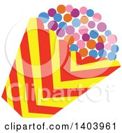 Clipart Of A Bucket Of Colorful Popcorn Royalty Free Vector Illustration