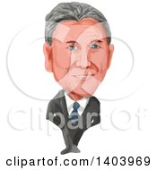 Clipart Of A Watercolor Caricature Of The President Of Argentina Mauricio Macri Royalty Free Vector Illustration