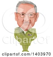 Watercolor Caricature Of The President Of Cuba Raul Modesto Castro Ruz