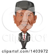Clipart Of A Watercolor Caricature Of The Prime Minister Of Indonesia Joko Widodo Jokowi Royalty Free Vector Illustration