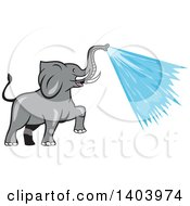 Clipart Of A Cartoon Elephant Spraying Water From His Trunk Royalty Free Vector Illustration by patrimonio