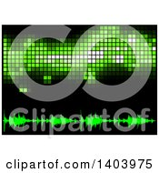 Clipart Of A Background Of Green Equalizer Sound Waves And Pixels On Black Royalty Free Vector Illustration