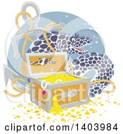 Clipart Of A Moray Eel With A Sunken Anchor And Treasure Royalty Free Vector Illustration by Alex Bannykh