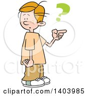 Clipart Of A Cartoon Caucasian Boy Pointing And Asking Which Way To Go Royalty Free Vector Illustration