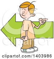 Clipart Of A Cartoon Caucasian Boy Pointing In The Opposite Direction As An Arrow Royalty Free Vector Illustration