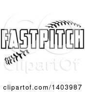 Clipart Of Black And White FASTPITCH Text Over Baseball Stitches Royalty Free Vector Illustration