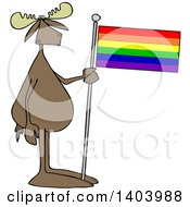 Clipart Of A Cartoon Moose Standing And Holding A Rainbow Lgbt Flag Royalty Free Vector Illustration by djart