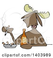 Clipart Of A Cartoon Moose Smoking And Drinking A Beer Royalty Free Vector Illustration