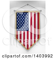 Clipart Of A 3d Hanging American Flag Pennant On A Shaded Background Royalty Free Illustration by stockillustrations