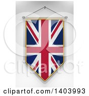 Clipart Of A 3d Hanging UK Flag Pennant On A Shaded Background Royalty Free Illustration by stockillustrations