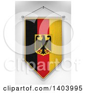 Clipart Of A 3d Hanging German Flag Pennant On A Shaded Background Royalty Free Illustration
