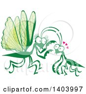 Clipart Of A Praying Mantis Couple In Love Royalty Free Vector Illustration by Zooco