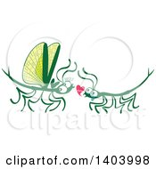 Clipart Of A Stick Insect Couple In Love Royalty Free Vector Illustration by Zooco