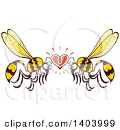 Clipart Of A Wasp Couple In Love Royalty Free Vector Illustration by Zooco