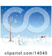 Snow Covered Road Winding Along A Fence By A Bare Tree Leading To A Red Barn In The Distance Clipart Illustration by Rasmussen Images