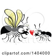 Clipart Of An Ant Couple In Love Royalty Free Vector Illustration by Zooco