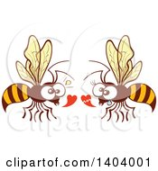 Clipart Of A Bee Couple In Love Royalty Free Vector Illustration by Zooco