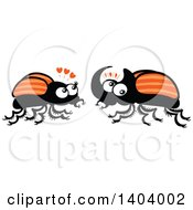 Clipart Of A Beetle Couple In Love Royalty Free Vector Illustration by Zooco