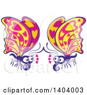Clipart Of A Butterfly Couple In Love Royalty Free Vector Illustration by Zooco