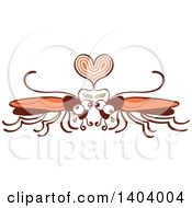 Clipart Of A Cockroach Couple In Love Royalty Free Vector Illustration