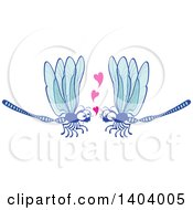Clipart Of A Dragonfly Couple In Love Royalty Free Vector Illustration