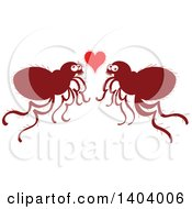 Clipart Of A Flea Couple In Love Royalty Free Vector Illustration