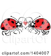 Clipart Of A Ladybug Couple In Love Royalty Free Vector Illustration by Zooco