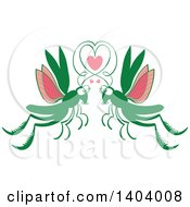 Clipart Of A Grasshopper Couple In Love Royalty Free Vector Illustration by Zooco