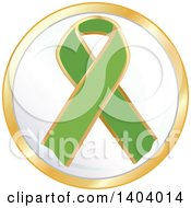 Clipart Of A Green Awareness Ribbon Icon Royalty Free Vector Illustration