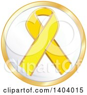 Clipart Of A Yellow Awareness Ribbon Icon Royalty Free Vector Illustration