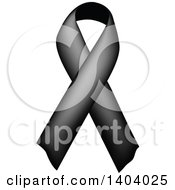 Clipart Of A Black Awareness Ribbon Royalty Free Vector Illustration