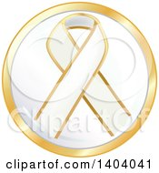 Clipart Of A White Awareness Ribbon Icon Royalty Free Vector Illustration