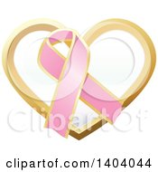 Clipart Of A Pink Breast Cancer Awareness Ribbon And Heart Icon Royalty Free Vector Illustration by inkgraphics