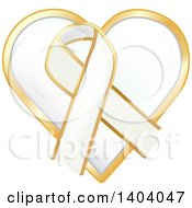 Clipart Of A White Awareness Ribbon And Heart Icon Royalty Free Vector Illustration