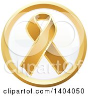 Clipart Of A Round Gold Awareness Ribbon Icon Royalty Free Vector Illustration