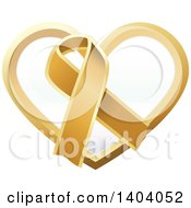 Clipart Of A Gold Awareness Ribbon And Heart Icon Royalty Free Vector Illustration