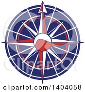 Clipart Of A Blue Red And White Nautical Compass Rose Royalty Free Vector Illustration