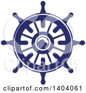 Clipart Of A Blue And White Nautical Helm Royalty Free Vector Illustration by inkgraphics